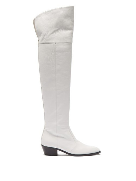 Matty Bovan - Oscar Over The Knee Leather Boots - Womens - White