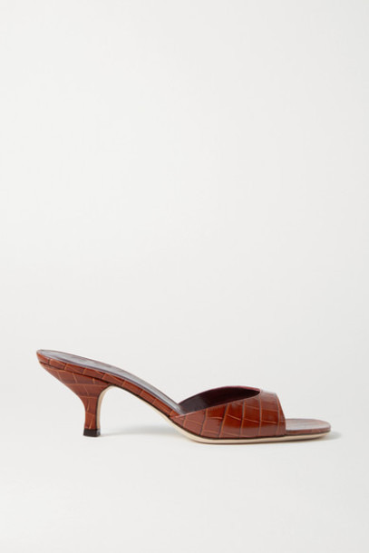 STAUD - Gene Croc-effect Leather Sandals - Brown
