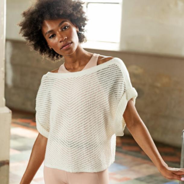 New Balance 93453 Women's Balance Open Stitch Sweater Tee - Off White (WT93453SST)