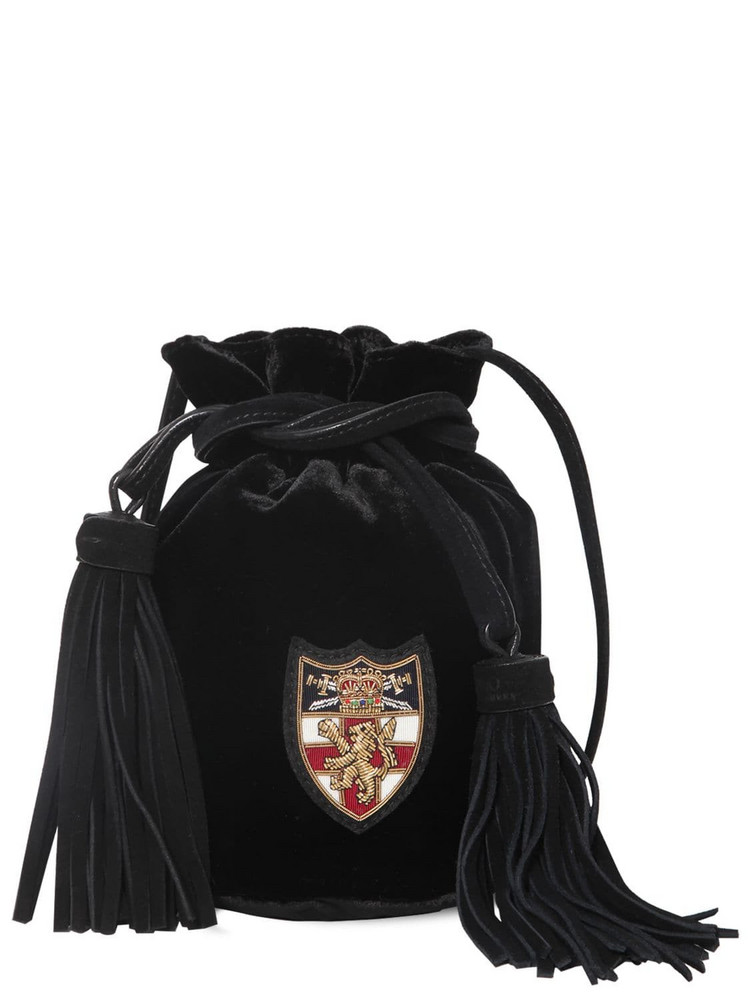 POLO RALPH LAUREN Viscose Blend Velvet Pouch W/ Logo Patch in black