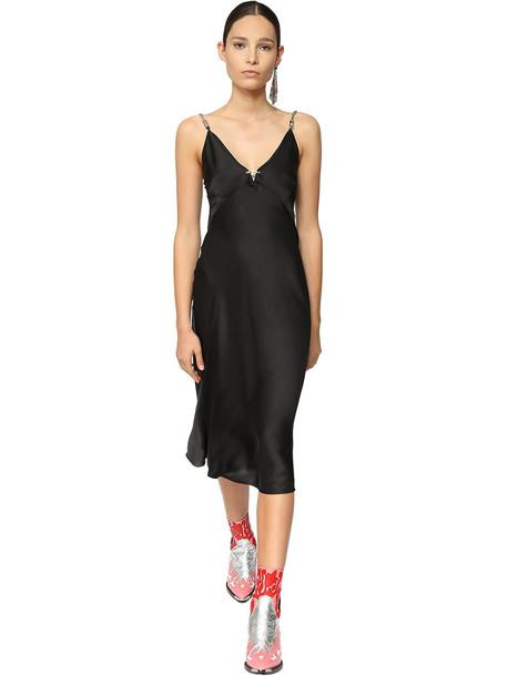 PACO RABANNE Satin Midi Dress W/ Metal Chain Straps in black