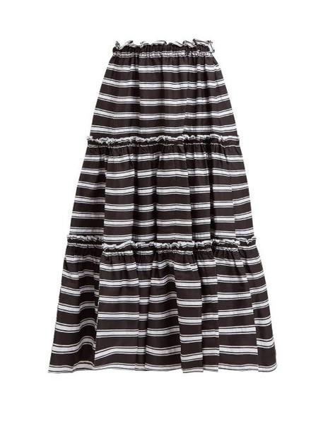 Lisa Marie Fernandez - Tiered High Rise Striped Satin Midi Skirt - Womens - Black White