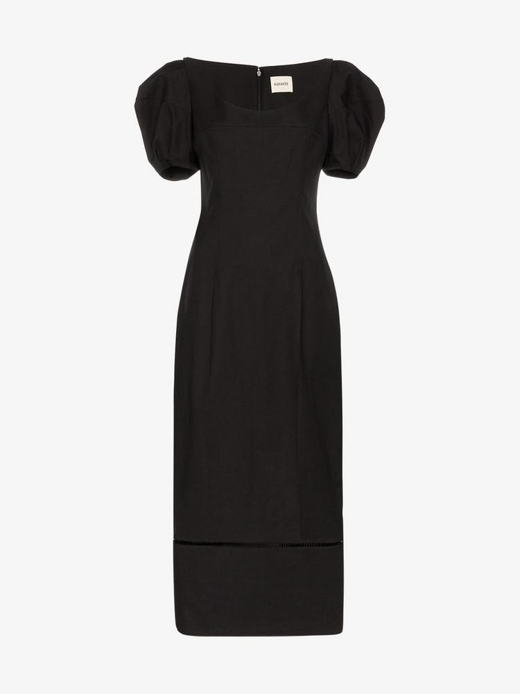 Khaite Allison pouf sleeve midi dress in black