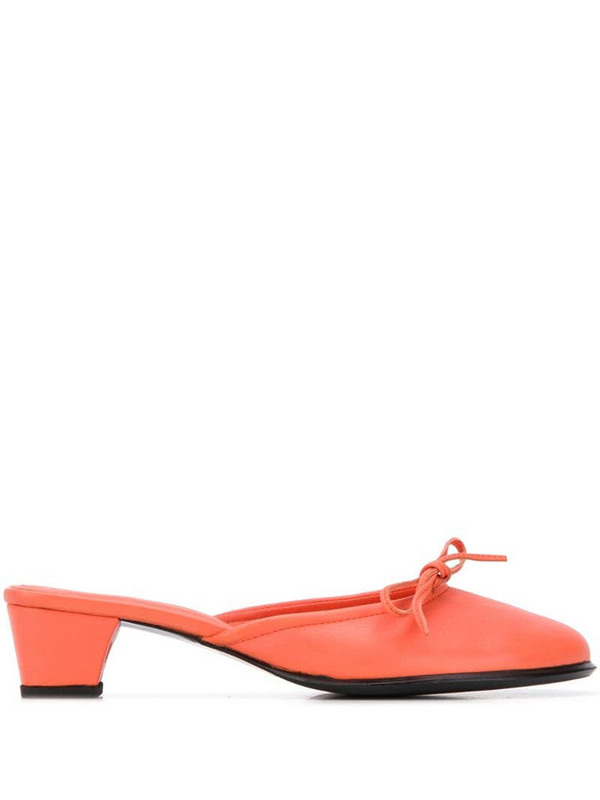 Dorateymur bow detail block heel mules in orange