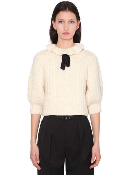 RED VALENTINO Ruffled Wool Blend Knit Sweater in ivory