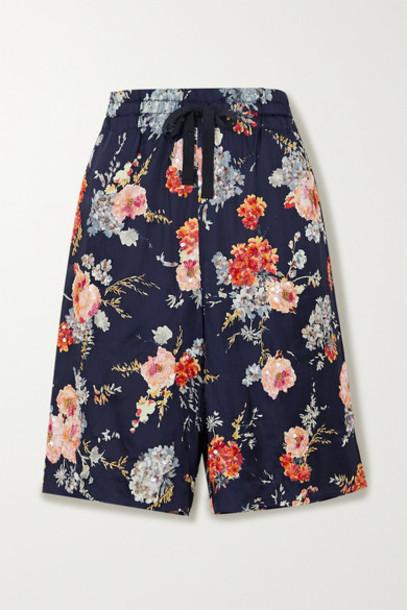 Dries Van Noten - Postala Embellished Floral-print Satin Shorts - Blush