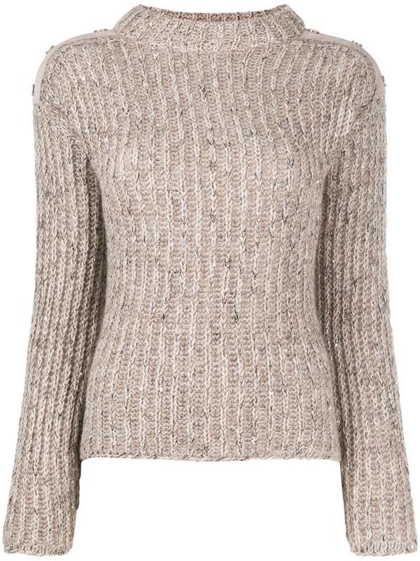 D.Exterior high neck rib knit jumper in neutrals