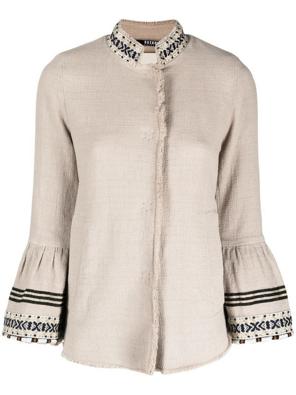 Bazar Deluxe embroidered flared sleeves buttoned jacket in neutrals