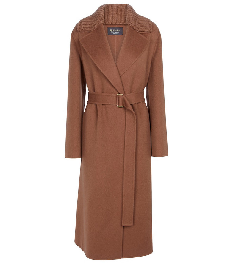 Loro Piana Barjet belted baby cashmere coat in brown