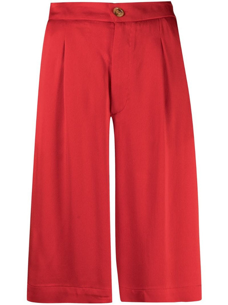 Semicouture satin wide-leg shorts in red