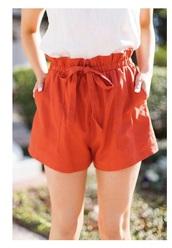 shorts,orange shorts,paper bag shorts,orange