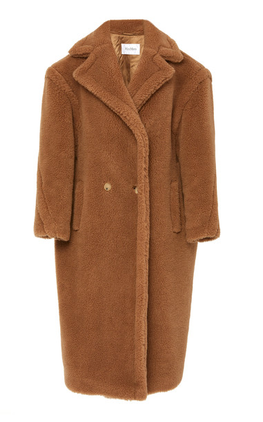 Max Mara Teddy Double-Breasted Faux Fur Coat in brown