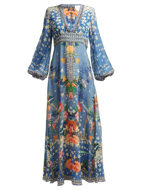 Camilla - Faraway Florals Print Silk Maxi Dress - Womens - Blue Print
