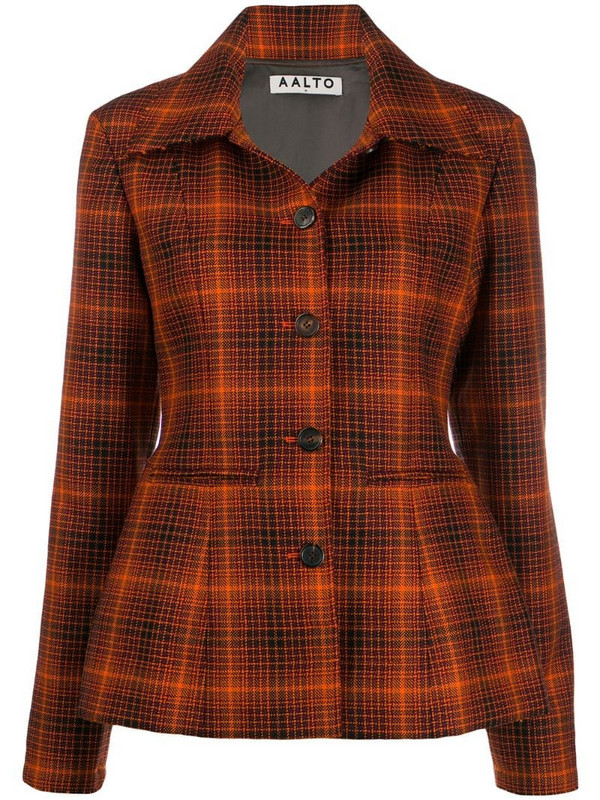 Aalto nipped waist tartan blazer in orange