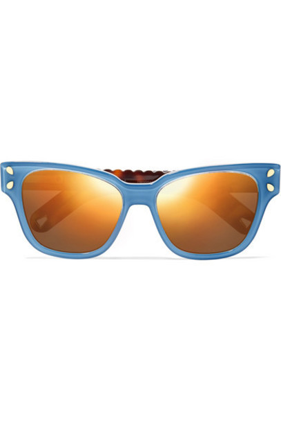 Lucy Folk - Diving For Gold Square-frame Acetate Sunglasses - Blue