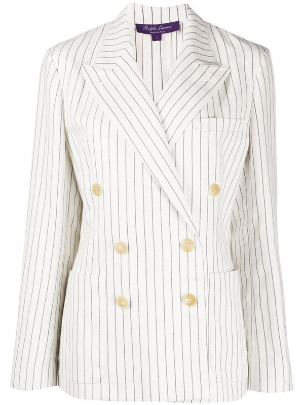 Ralph Lauren Collection striped double-breasted blazer jacket in white