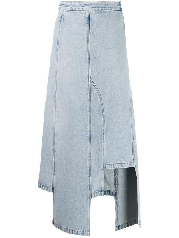 Ssheena bleached denim skirt in blue