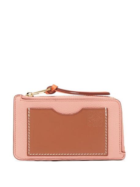 Loewe - Zip-top Grained-leather Cardholder - Womens - Pink
