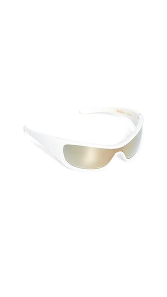 Le Specs x Adam Selman The Monster Sunglasses in white / yellow