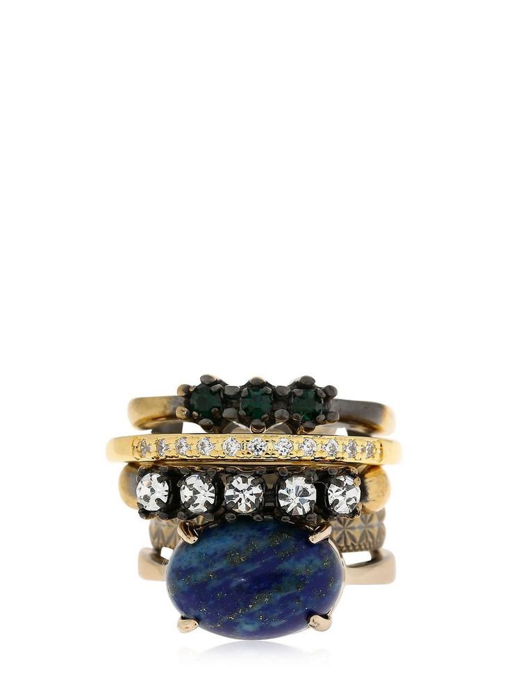 IOSSELLIANI Set Of 5 Rings W/ Lapis Lazuli in blue / gold