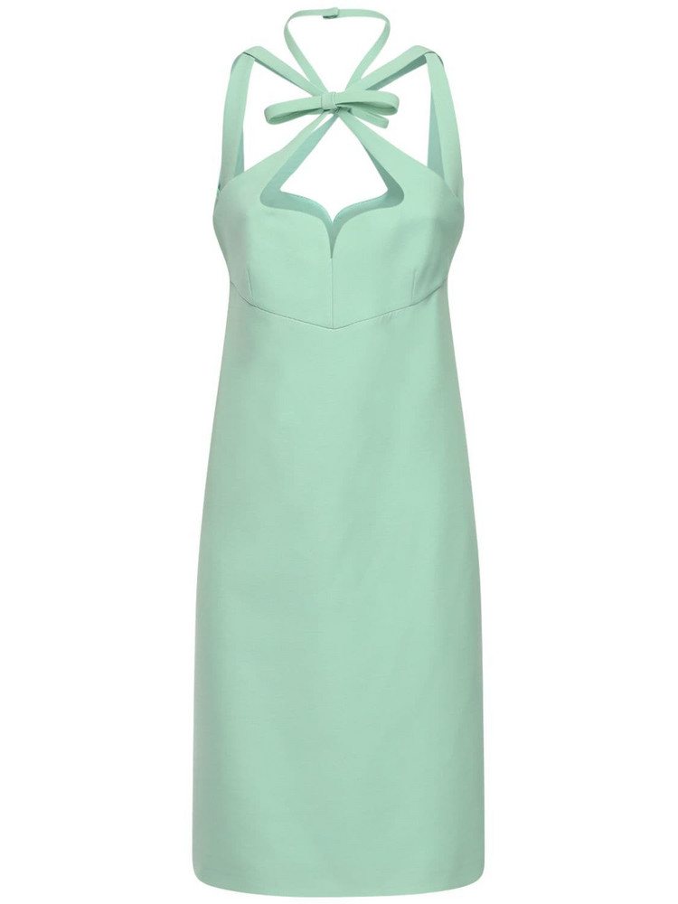 GUCCI Silk & Wool Cady Midi Dress W/ Bow in mint