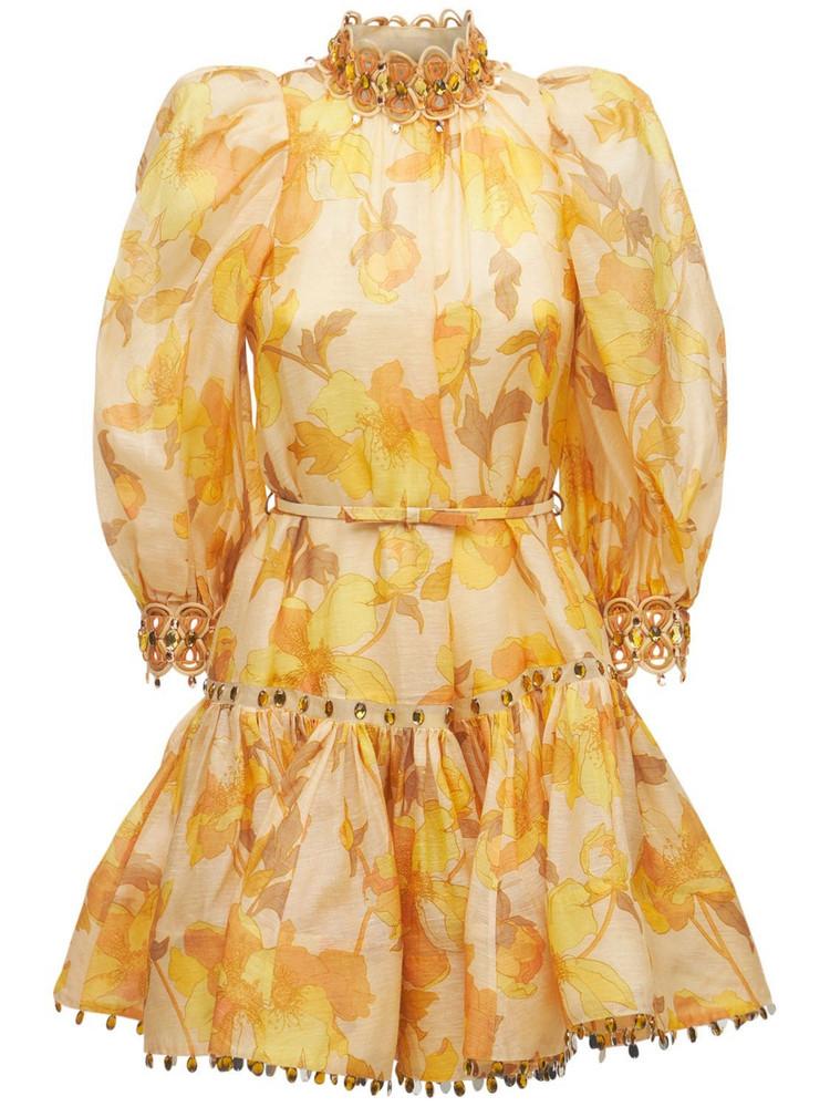 ZIMMERMANN Rouleau Linen Blend Mini Dress in yellow / beige