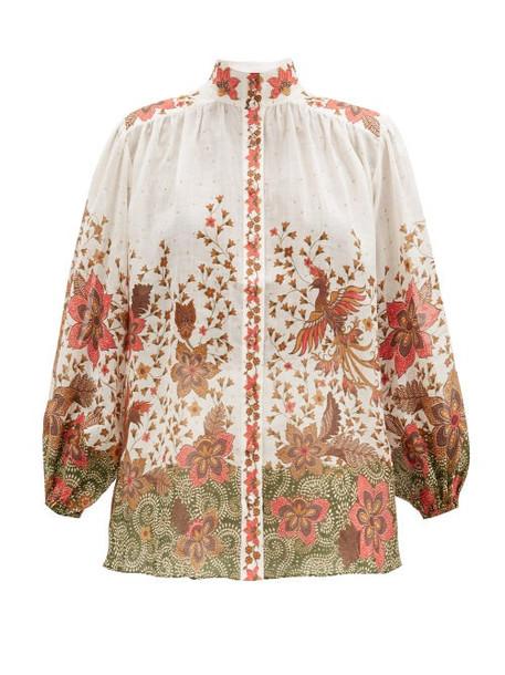 Zimmermann - Empire Batik-print Ramie-poplin Blouse - Womens - White Print