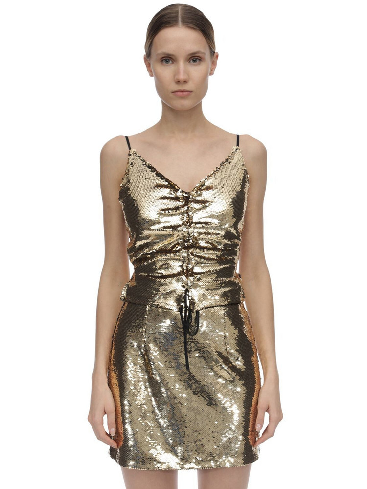 AMEN Sequined Open Back Top in gold