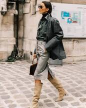 skirt,midi skirt,high waisted skirt,grey skirt,knee high boots,suede boots,brown bag,plaid blazer,oversized,shirt,black turtleneck top