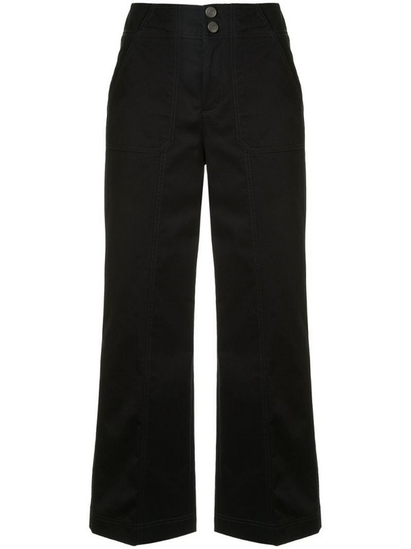 PortsPURE mid-rise wide-leg trousers in blue