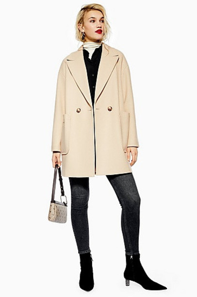 TopShop Relaxed Coat - Stone