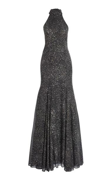 Galvan Cosmos Glittered Georgette Gown in black