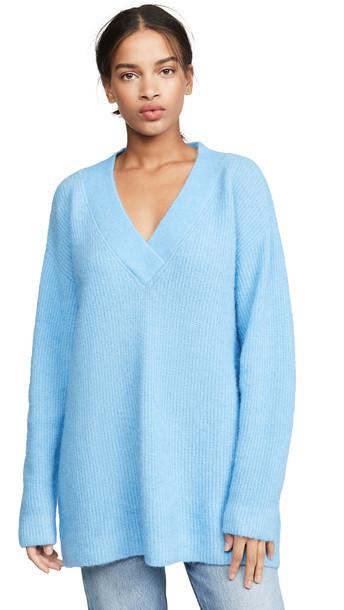 GANNI Soft Wool Knit Sweater in blue