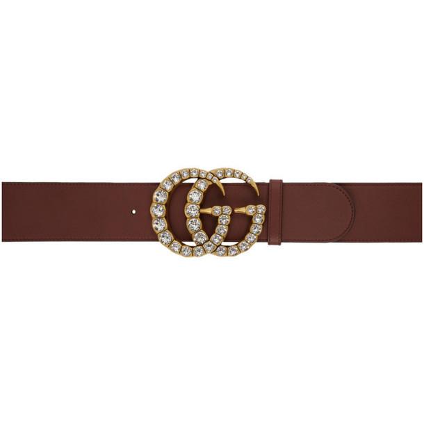 Gucci Burgundy Wide Leather GG Crystal Belt