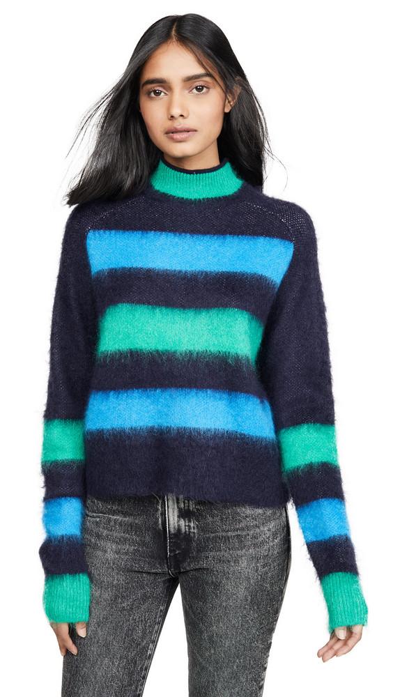 Proenza Schouler PSWL Long Sleeve Brushed Stripe Sweater in indigo