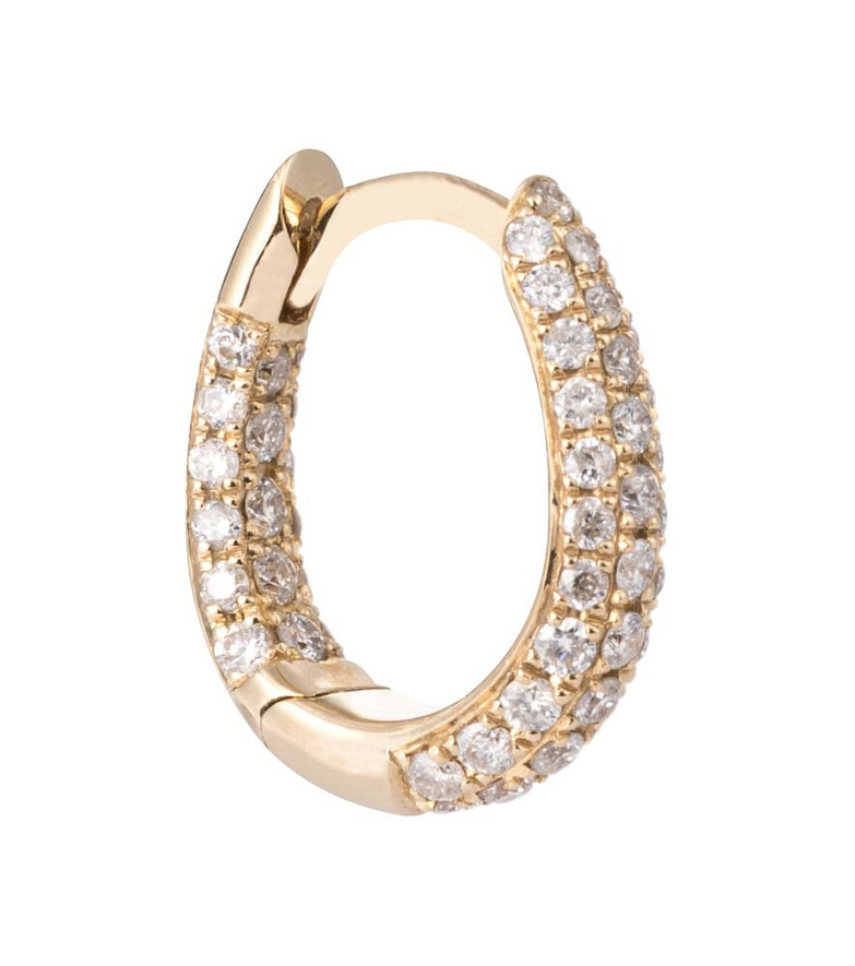 Jacquie Aiche Inside Out 14kt gold single hoop earring with pavé diamonds