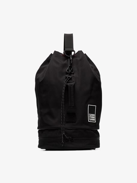 Ganni Black Triple-strap drawstring backpack