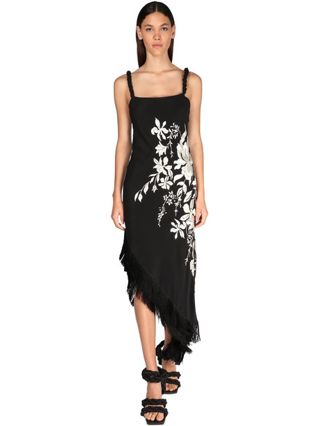 JOHANNA ORTIZ Floral Embroidery Silk Crepe Dress in black / ivory