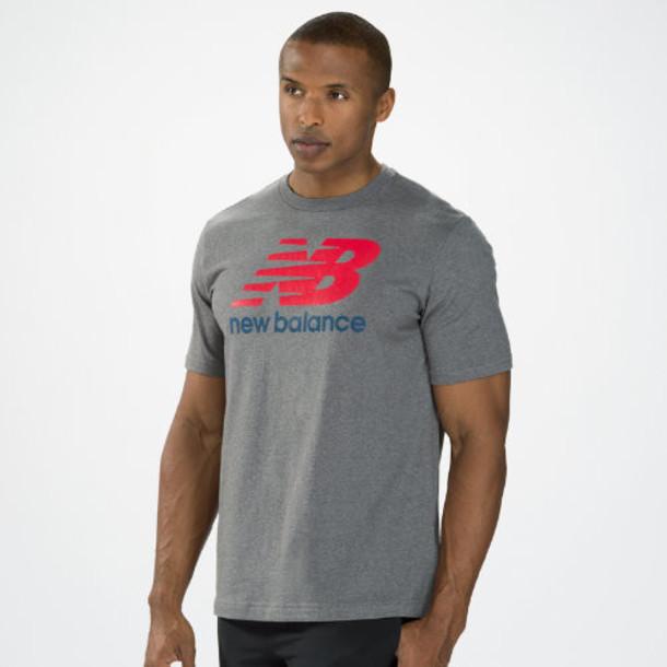New Balance 3170 Men's Essentials Short Sleeve Tee - Heather Grey, Red, Cobalt Blue (MET3170HGR)