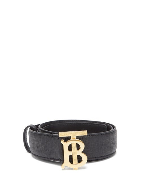 Burberry - Monogram-buckle Pebbled-leather Belt - Womens - Green Gold
