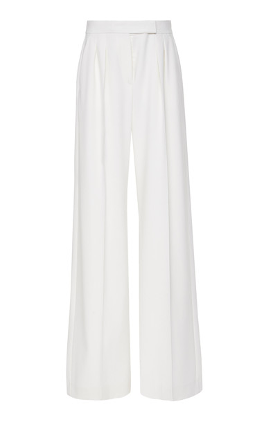 Max Mara Villar Fringed Wool Wide-Leg Pants Size: 0 in white