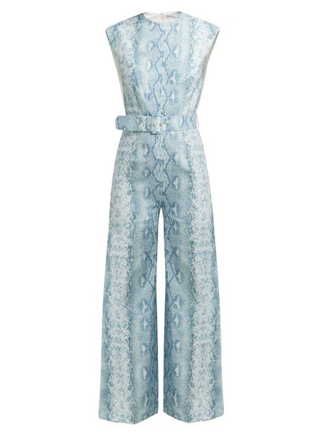 Emilia Wickstead - Barbara Python Print Linen Jumpsuit - Womens - Blue Print