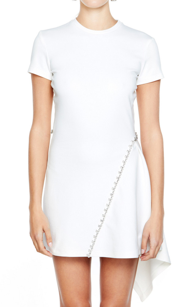Area Crystal-Embellished Stretch-Crepe Handkerchief Dress in white