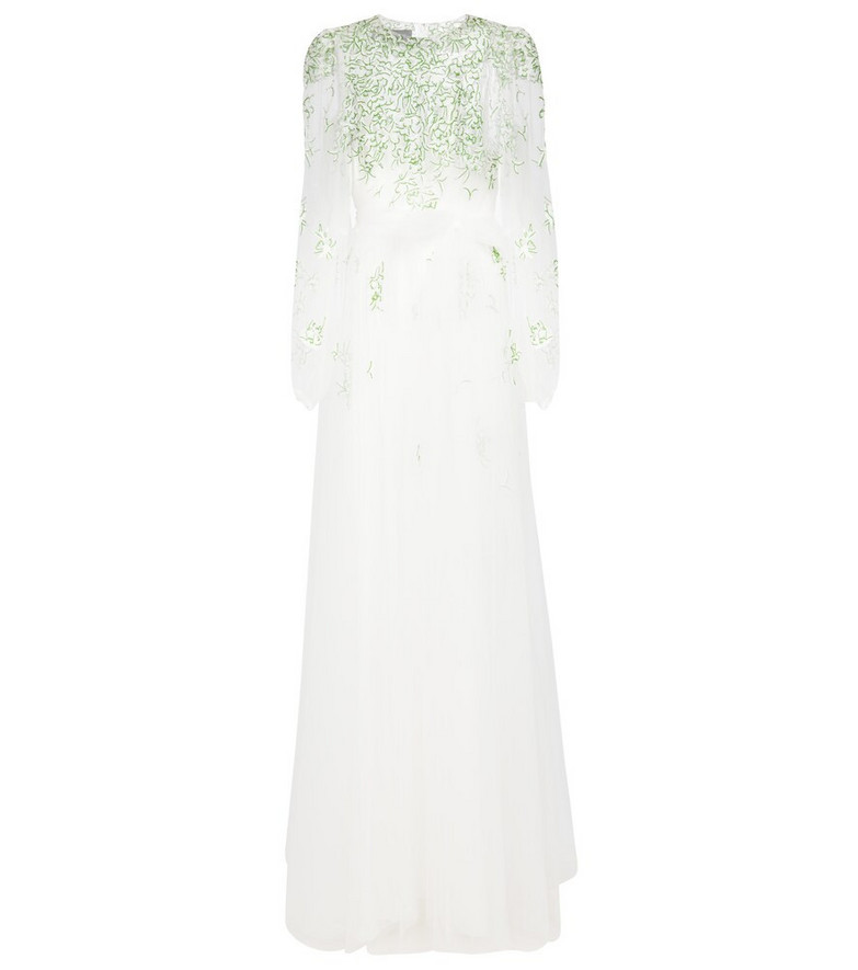 Monique Lhuillier Embroidered belted tulle gown in white