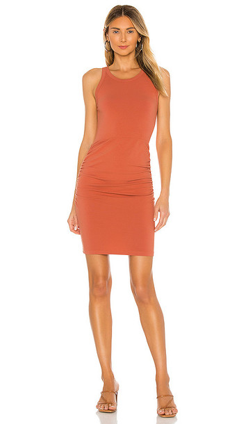 MONROW Narrow Tank Shirred Dress in Burnt Orange