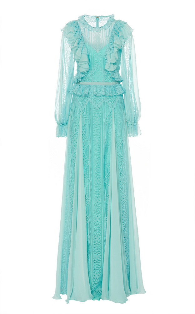 Zuhair Murad Andalusia Ruffle-Trimmed Pointelle-Lace Gown Size: 34 in blue