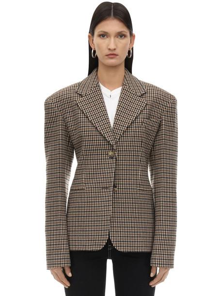 KHAITE Kendall Check Wool Blazer in beige