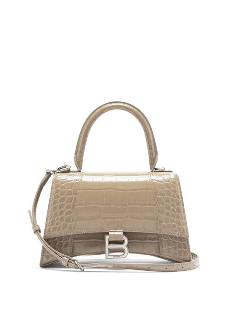 Balenciaga - Hourglass Small Crocodile-effect Leather Bag - Womens - Beige