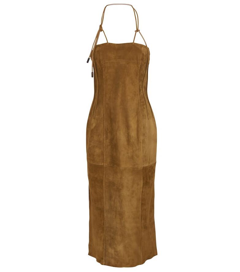 Petar Petrov Aaron bustier suede midi dress in brown