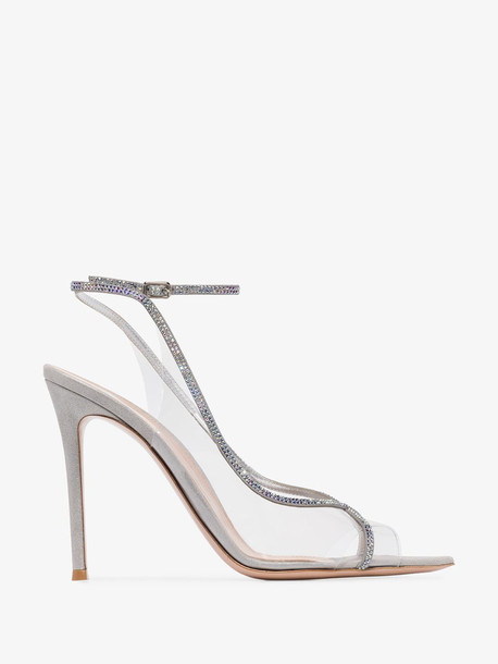 Gianvito Rossi grey Plexi 115 crystal embellished sandals